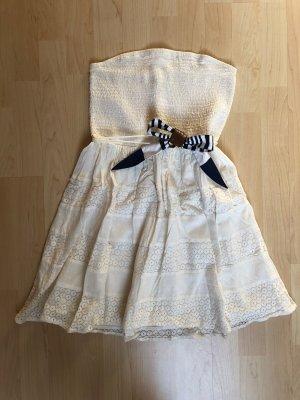 Vero Moda Kleid Minikleid Sommerkleid weiß creme Gummizug trägerlos Blumen Spitze Gürtel maritim