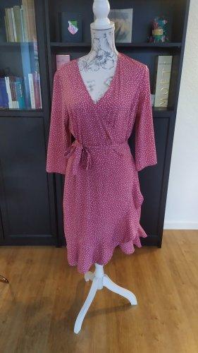 Vero Moda Kleid Wickelkleid rosa weiss XL neu