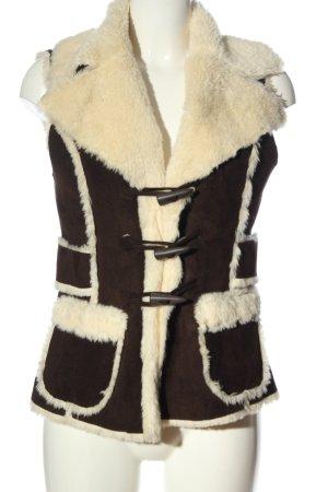 Vero Moda Kamizelka ze sztucznym futrem brązowy-kremowy W stylu casual