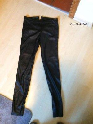 Vero Moda Pantalon en cuir noir