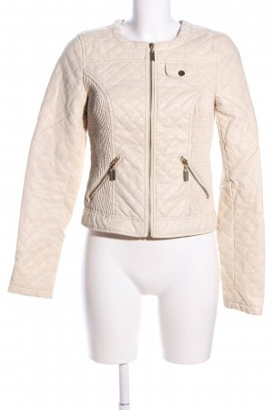Vero Moda Faux Leather Jacket cream quilting pattern casual look