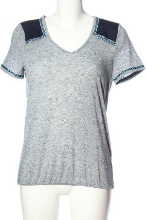 Vero Moda V-Ausschnitt-Shirt hellgrau-schwarz meliert Casual-Look