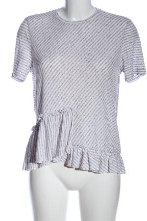 Vero Moda Kurzarm-Bluse weiß-lila Streifenmuster Casual-Look