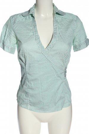 Vero Moda Kurzarm-Bluse weiß-grün Streifenmuster Casual-Look