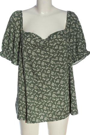 Vero Moda Kurzarm-Bluse khaki-wollweiß abstraktes Muster Casual-Look