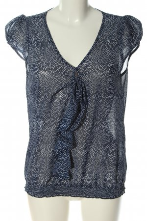 Vero Moda Kurzarm-Bluse blau-weiß Punktemuster Casual-Look