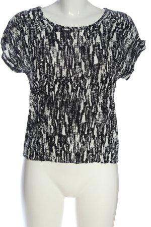 Vero Moda Kurzarm-Bluse weiß-schwarz Allover-Druck Casual-Look