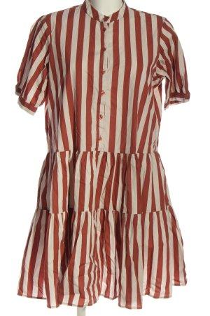 Vero Moda Robe à manches courtes brun-blanc cassé motif rayé