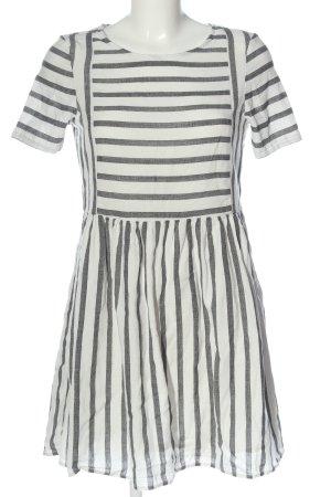 Vero Moda Kurzarmkleid weiß-schwarz Streifenmuster Casual-Look