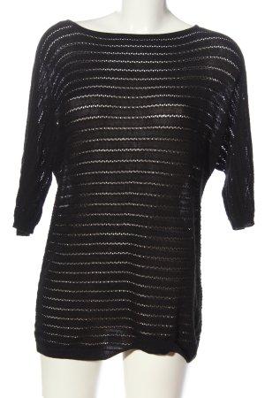Vero Moda Sweter z krótkim rękawem czarny Wzór w paski W stylu casual
