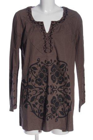 Vero Moda Langarm-Bluse braun-schwarz abstraktes Muster Casual-Look