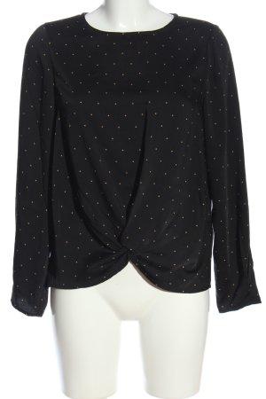 Vero Moda Langarm-Bluse schwarz-creme Allover-Druck Casual-Look