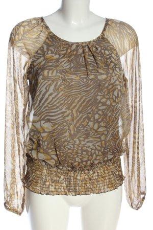 Vero Moda Langarm-Bluse braun-hellorange abstraktes Muster Casual-Look