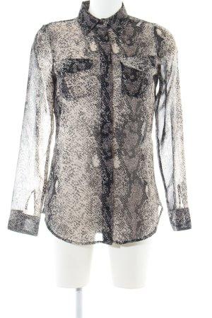 Vero Moda Langarm-Bluse schwarz-creme Animalmuster Casual-Look