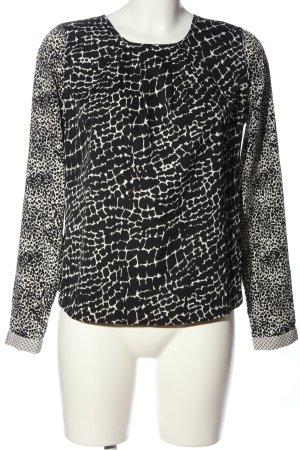 Vero Moda Langarm-Bluse schwarz-weiß Allover-Druck Casual-Look