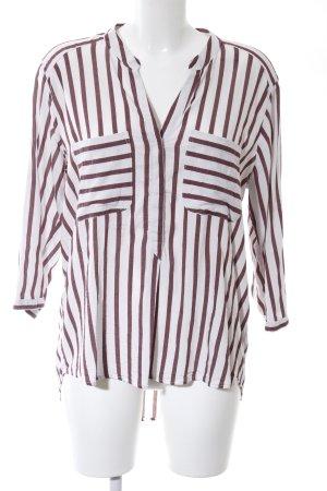 Vero Moda Langarm-Bluse weiß-braun Streifenmuster Casual-Look