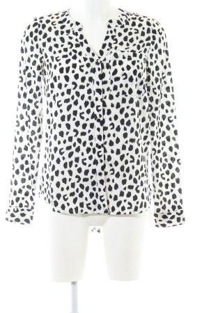 Vero Moda Langarm-Bluse weiß-schwarz Allover-Druck Elegant