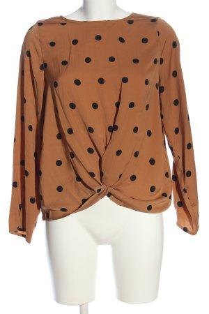 Vero Moda Langarm-Bluse braun-schwarz Punktemuster Casual-Look