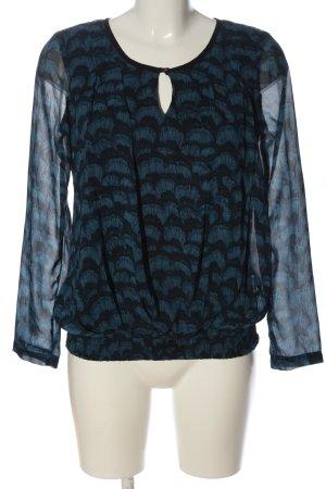 Vero Moda Langarm-Bluse blau-schwarz Allover-Druck Casual-Look