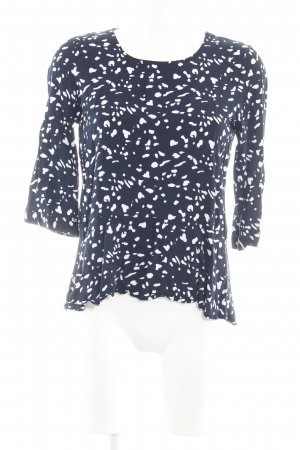 Vero Moda Langarm-Bluse blau-weiß Allover-Druck Casual-Look