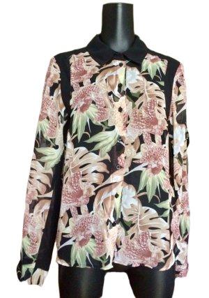Vero Moda Langarm-Bluse bunt/schwarz Floralmuster Casual-Look