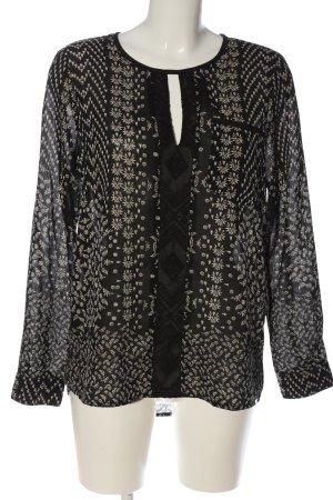 Vero Moda Langarm-Bluse schwarz-weiß Allover-Druck Elegant