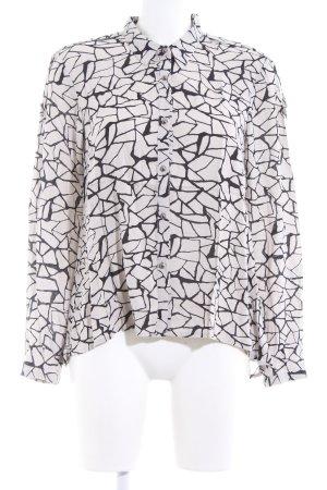 Vero Moda Langarm-Bluse hellgrau-schwarz abstraktes Muster Casual-Look