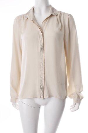 Vero Moda Langarm-Bluse hellbeige Nietenelemente