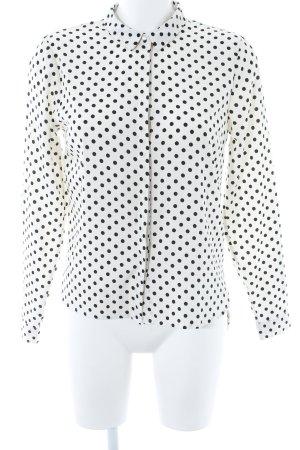 Vero Moda Langarm-Bluse schwarz-wollweiß Punktemuster Casual-Look