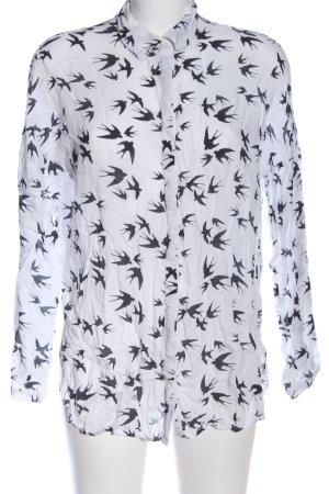 Vero Moda Langarmhemd weiß-schwarz abstraktes Muster Casual-Look