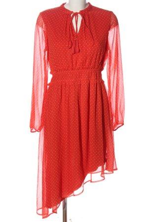 Vero Moda Langarmkleid rot-weiß Punktemuster Casual-Look