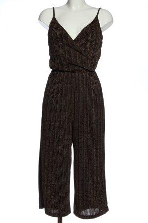 Vero Moda Langer Jumpsuit schwarz-bronzefarben Streifenmuster Glanz-Optik