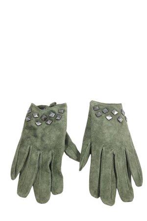 Vero Moda Leren handschoenen khaki-zilver casual uitstraling