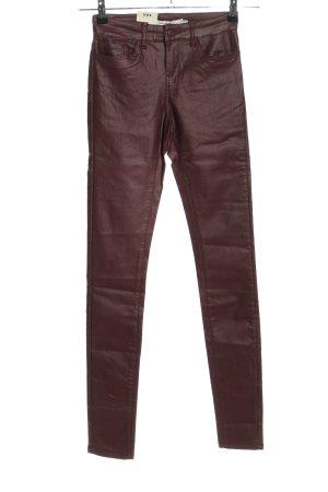 Vero Moda Skórzane spodnie brązowy W stylu casual