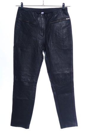 Vero Moda Pantalon en cuir noir motif de courtepointe style décontracté