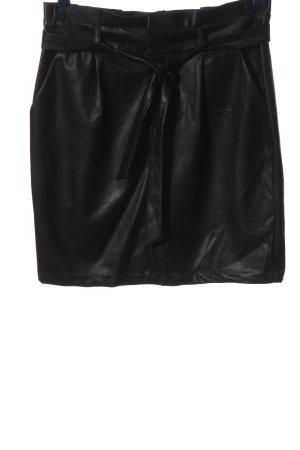 Vero Moda Lederrock schwarz Glanz-Optik