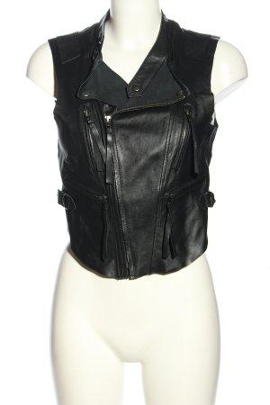 Vero Moda Gilet en cuir noir style décontracté