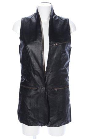 Vero Moda Lederweste schwarz Glanz-Optik