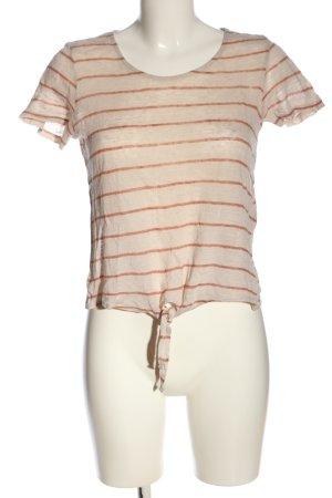 Vero Moda Blusa de lino crema-marrón estampado a rayas look casual