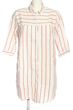 Vero Moda Long-Bluse weiß-hellorange Streifenmuster Business-Look