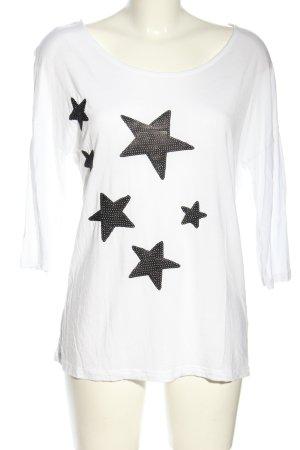Vero Moda Longsleeve weiß-schwarz Motivdruck Casual-Look