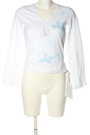 Vero Moda Longsleeve weiß-blau Blumenmuster Casual-Look