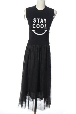 Vero Moda Robe mi-longue noir-blanc imprimé avec thème style décontracté