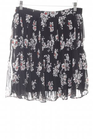 Vero Moda Midirock schwarz-hellgrau Blumenmuster klassischer Stil