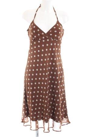 Vero Moda Vestido de cuello Halter marrón-blanco estampado a lunares