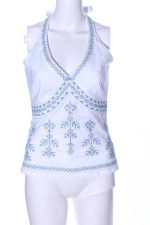 Vero Moda Neckholdertop weiß-blau grafisches Muster Casual-Look