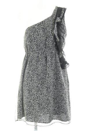 Vero Moda One-Shoulder-Kleid hellgrau-schwarz Animalmuster Animal-Look
