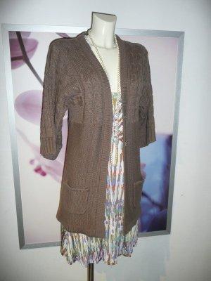 Vero Moda Oversize Strick Jacke Knit Cardigan Zopfmuster Braun S 36-38