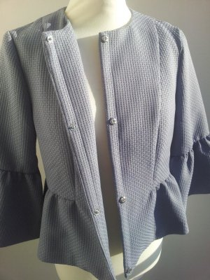 Vero Moda Peplum-Jacke in L (40/42), Grau / Blau, Volants-Ärmel & Struktur