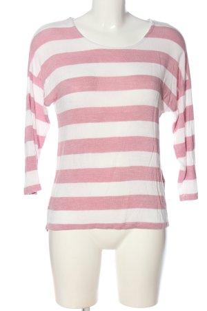 Vero Moda Polo rosa-bianco sporco motivo a righe stile casual